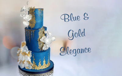 BLUE & GOLD ELEGANCE WEDDING CAKE
