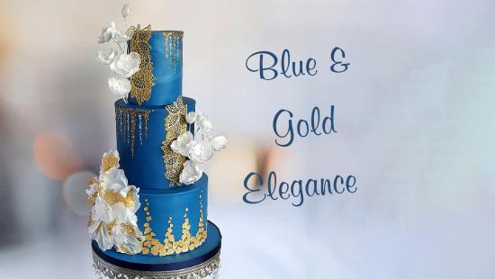 BLUE & GOLD ELEGANCE WEDDING CAKE