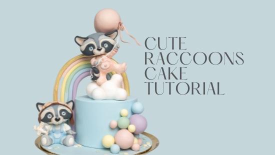 CUTE RACCOONS BABY SHOWER CAKE